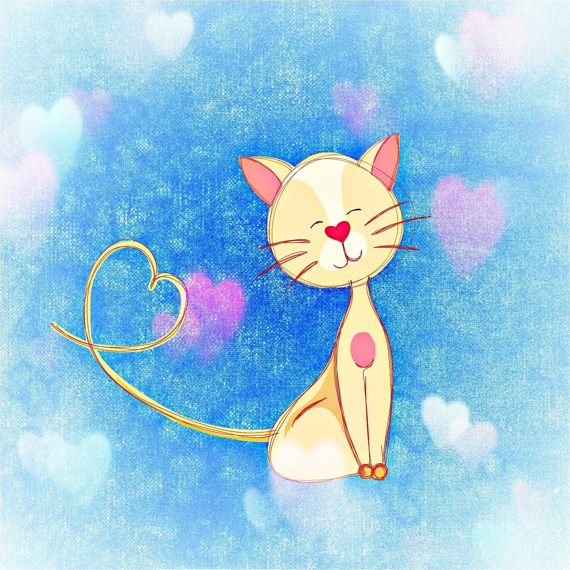 Katze mit Herzen